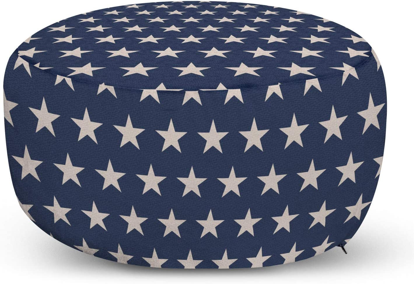 Ambesonne Star Ottoman Pouf, Patriotic Star of The American Flag Independence Themeds of Freedom, Decorative Soft Foot Rest with Removable Cover Living Room and Bedroom, Blue Beige