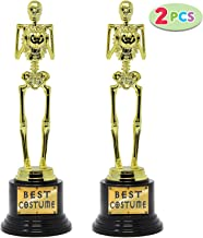 2 Halloween Best Costume Skeleton Trophy for Halloween Skull Party Favor Prizes, Gold Bones Game Awards, Costume Contest Event Trophy, School Classroom Rewards, Treats for Kids, Goodie Bag Fillers