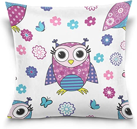 Amazon Com Ye Store Cute Pink Owl Cotton Throw Pillow Sofa Pillows For Bed And Car Without Inset Home Kitchen