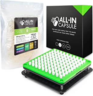 ALL-IN Capsule Filling Machine for Size 0 Bundle With 1000 Clear Vegetarian Capsules - Make Your Own Capsules Now Easier and Faster - Clear Illustrated Instructions With Video