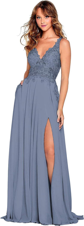 Women's V-Neck Slit Seattle Mall Long Chiffon Ev Formal Award-winning store Dress Bridesmaid Lace