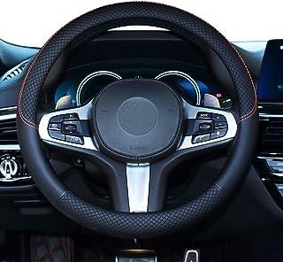 Capa para volante de carro Shiawasena, couro, ajuste universal de 38 cm, antiderrapante e sem odor (preto)