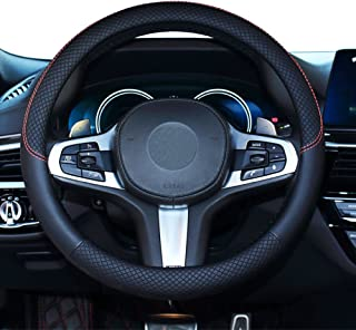 SHIAWASENA Car Steering Wheel Cover, Genuine Leather, Universal 15 Inch Fit, Anti-Slip & Odor-Free (Black)
