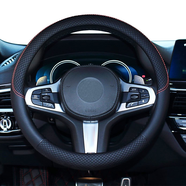 SHIAWASENA Car Steering Wheel Cover, Genuine Leather, Universal 15 Inch Fit, Anti-Slip & Odor-Free (Black)