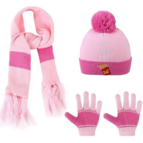 be318a8c482 Vbiger Kids 3-Pieces Knit Hat + Scarf + Gloves Set Winter Warm Set for