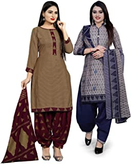 Rajnandini Women's Brown and Grey Cotton Printed Unstitched Salwar Suit Material (Combo Of 2) (Free Size)