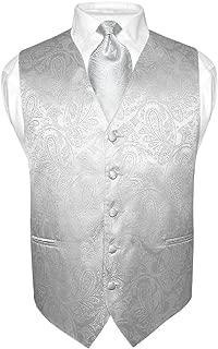 Vesuvio Napoli Chaleco y corbata de vestir con diseño de paisley para hombre Color gris plateado Conjunto de corbata gris