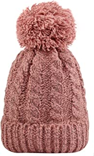 MINAKOLIFE Unisex Classic Winter Knitted Hat/Beanie with Chunky Bobble