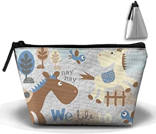 Trapezoid Travel Bag Makeup Portable Storage Pouch Horse Tree Wallet Hangbag