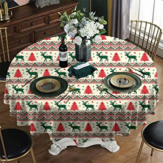 KFUTMD Wrinkle Free Round Tablecloths Nordic Pixel Art Inspirations Ornamental December Reindeers Vintage Emerald Beige Scarlet Plastic Table Cloth Diameter 39