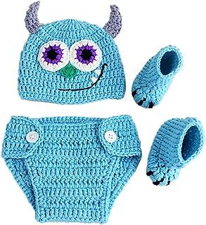 iKulilky, Bebé recién Nacido Accesorios de fotografía Trajes Ropa Lindo Vaquero Crochet Gorro de Lana de Punto Monster Pantalones con Traje de calcetín Body Wrap