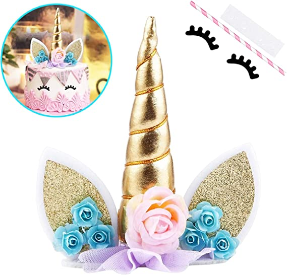 Unicorn Cake Topper with Eyelashes Party Cake Decoration Supplies for Birthday Party