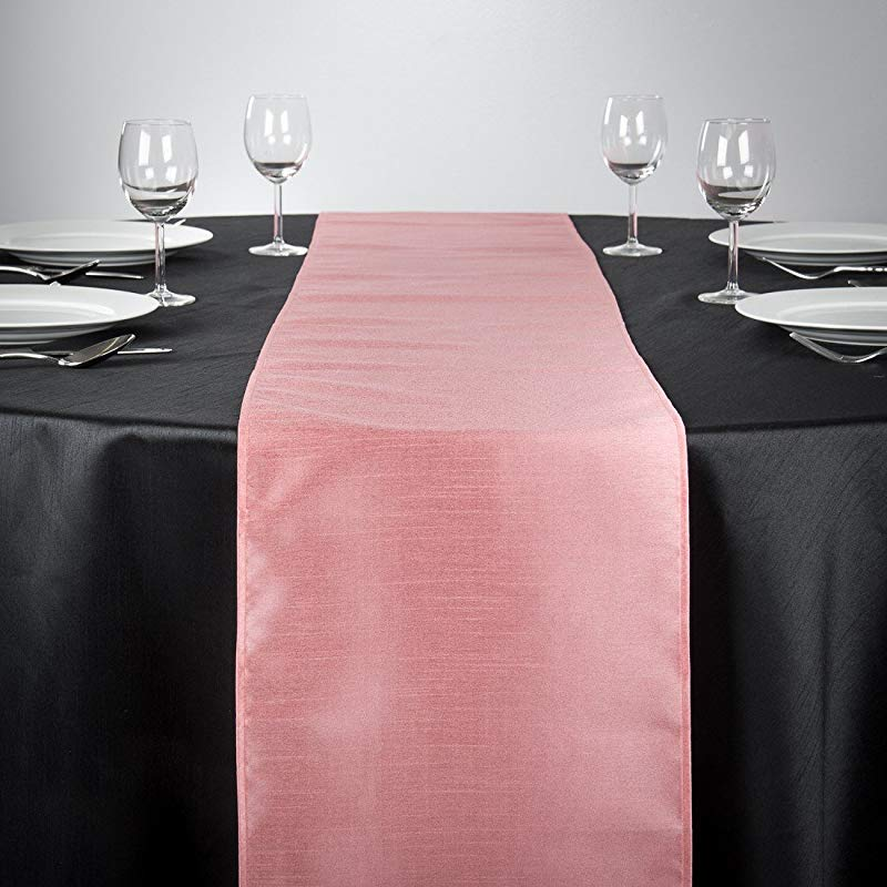 LinenTablecloth Shantung Silk Table Runner 14 X 108 Pink