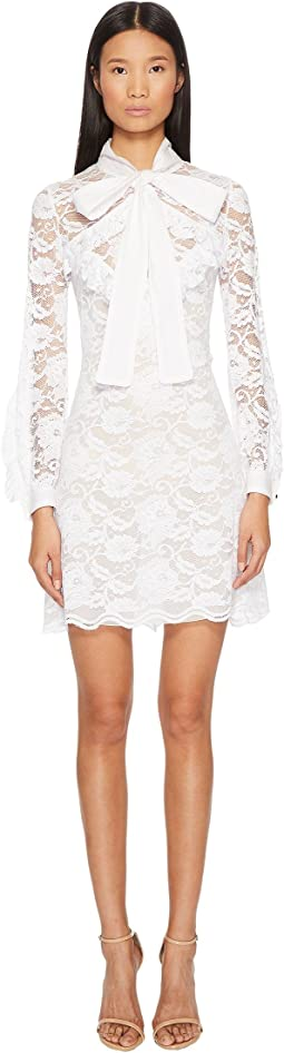 Bow Front Lace Long Sleeve Dress