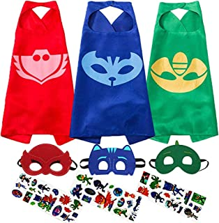 Costumes and Dress up For Kids - Compatible Superhero Party Halloween Capes and Masks (3 pcs)