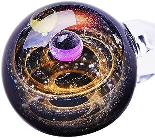 BENECREAT 天然ガラスペンダント ブラック 神秘的な 宇宙 銀河 ガラス ネックレス ペンダント 太陽 惑星 メンズ レディース