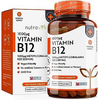 Vitamina B12 1000 mg Vegano Máxima absorción | 365 comprimidos Veganos (Suministro de12 meses) de liberación prolongada de metilcobalamina| | Hecho en el Reino Unido por Nutravita