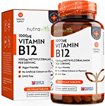 Vitamin B12 1000mcg - 365 Tablets (1 Year's Supply) of Vegan Methylcobalamin - Contributes to The Reduction of Tiredness & Fatigue - Made in The UK by Nutravita
