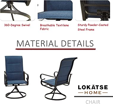 LOKATSE HOME 2 Pieces Outdoor Bistro Furniture Patio Dining Set Metal Swivel Single Chairs, Blue