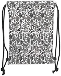 Drawstring Backpacks Bags,Yoga,Abstract Monochrome East Asian Culture Elements with Mandala Paisley Floral Pattern Decorative,Black White Soft Satin,5 Liter Capacity,Adjustable STR