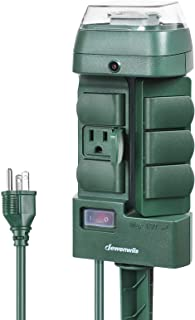 DEWENWILS Outdoor Mechanical Power Stake Timer, Waterproof, 6 Grounded Outlets(3 180°Rotatable), 6ft Extension Cord, Yard Stake for Lights, Garden, Pool, Pumps, Ponds, Fountain, 1625W/13A UL Listed