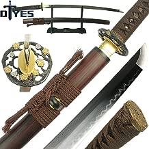 DTYES Handmade Japanese Samurai Katana Sword/Ninja Sword/Shirasaya, Functional, Hand Forged, 1060/1095/T10 Carbon Steel/Damascus Steel, Heat Tempered/Clay Tempered, Full Tang, Sharp, Wooden Scabbard