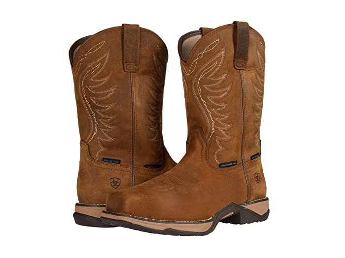 Ariat  Anthem Waterproof Composite Toe (Distressed Brown) Cowboy Boots