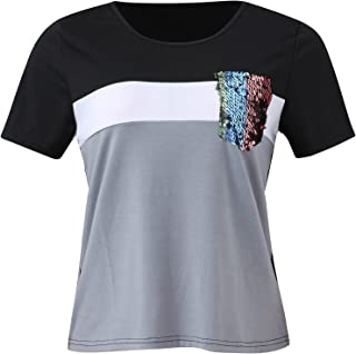 Women's Color Block Shirts Casual Summer Short Sleeve...