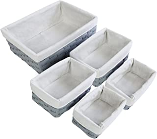 5-Piece Wicker Weave Utility Storage Baskets Bins for Shelves Closets – Gray, 2 Small, 2 Medium, 1 Large