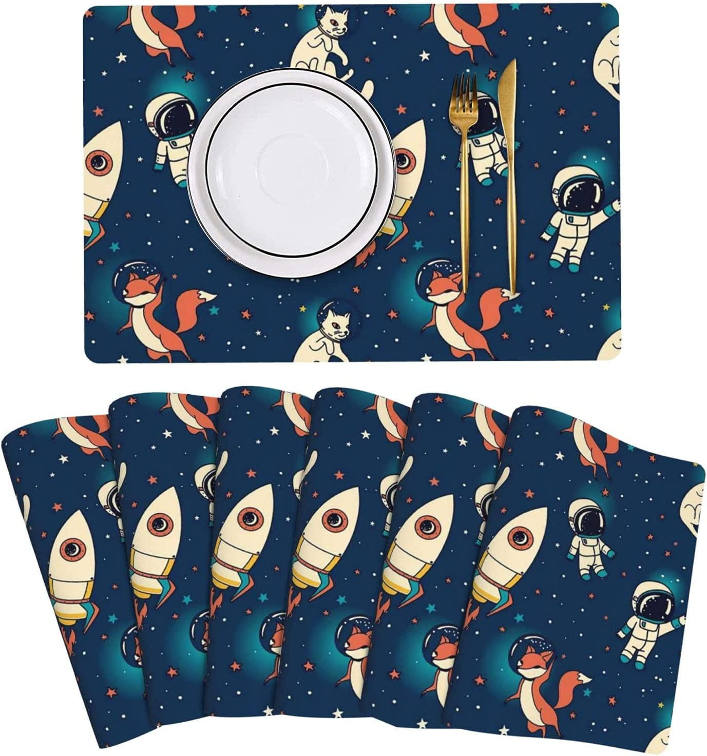 Cosmic Cute Rockets Cheap sale Foxes and Cats Leather Mats Placemat Ranking TOP12 Table S