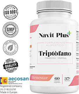 Triptófano 500 mg + B6 + B3 + B2 + Melatonina |60 cápsulas vegetales | Tratamiento 2 meses | Complemento alimenticio para regular el sueño, ...