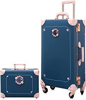 NZBZ Luxury Vintage Trunk Luggage Sets 2 Piece Cute Trolley Retro Suitcase for Women with 12 inch Cosmetic Train Case (Blu...