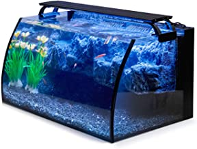 hygger Horizon 8 Gallon LED Glass Aquarium Kit for Starters with 7W Power Filter Pump, 18W Colored led Light, Wide View Cu...