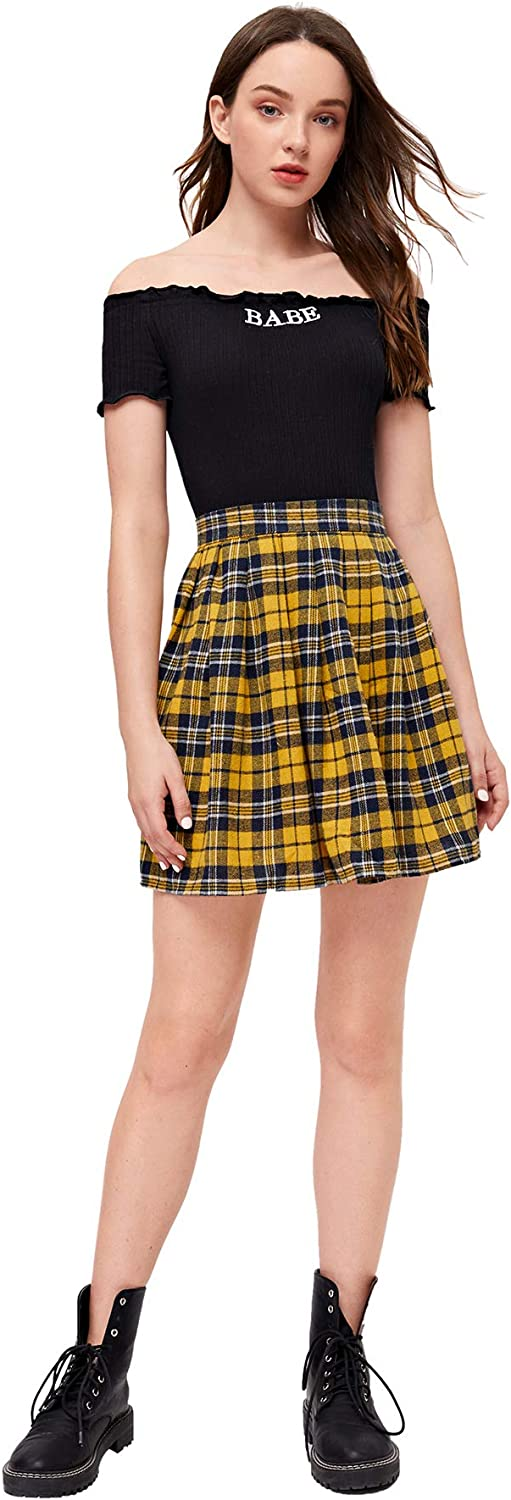 90s Clothing Outfits You Can Buy Now WDIRARA Womens Casual Plaid High Waist Pleated A-Line Mini Skirt  AT vintagedancer.com
