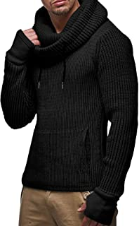 Men's Knitted Sweater Hoodied Turtleneck Long Sleeve Pullover