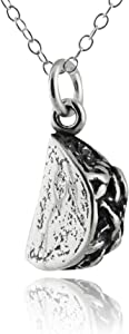 FashionJunkie4Life Sterling Silver Small 3D Taco Charm Necklace, 18