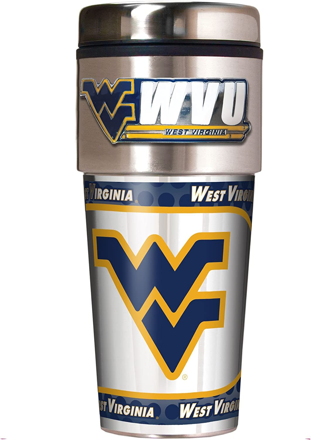 16-Ounce Great American Products NCAA Metallic Travel Tumbler Stainless Steel and Black Vinyl