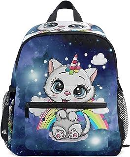 Mochila infantil, diseño de unicornio estrellado, galaxia, gato, arco iris, ligera, bolsa de viaje para niños con clip para el pecho