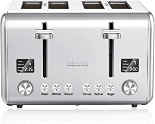 4-Slice Toaster, Willsence Stainless Steel Toaster 4 Slice Extra Wide Slots Bagel Toaster with 9 Bread Shade Settings, Bagel/Defrost/Cancel/Reheat Function, Removable Crumb Tray, 1800W, Silver