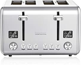 Toaster 4 Slice 1800W, Willsence Stainless Steel Bagel Toaster with Extra Wide Slots, 2 LCD Timer Displays with 9 Bread Shade Settings and 6 Pre-set Programs (Defrost/Reheat/Cancel Function), Removable Crumb Tray
