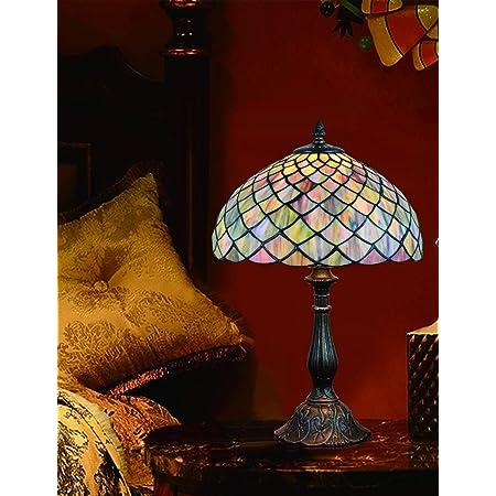 Lampe de table Vintage de 12 pouces en verre teinté pastoral Lampe de chambre à coucher Lampe de chevet