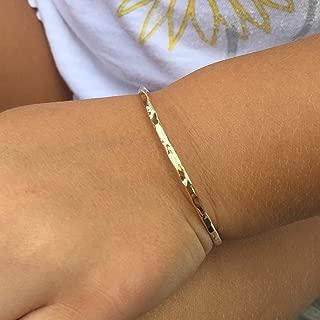 Bangle Bracelets for Kids - Toddler Girls (Walkers) Handmade 14K Gold Filled Island Style Gift for Toddler, Kids - Golden Jewelry for Baptism, Good Luck, Blessing & Dedications - Unique Keepsake