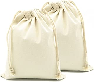 Yingkor 100% Cotton Canvas Muslin Drawstring Bags 2-pack 24x32cm