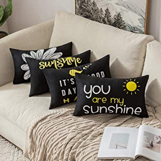 MIULEE Pack of 4 Decorative Cute Throw Pillow Covers Cheery Quote Words Bird Sunshine Flower Cushion Case Sham Pillowcases for Couch Sofa Bed 12 x 20 Inch Black