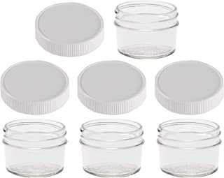 Jarming Collections - 4 Glass Mason Jars 4 ounce - Regular Mouth with 4 Plastic (BPA Free) Leak Proof Storage Lids- Ideal for Baby Food - Storing (white)