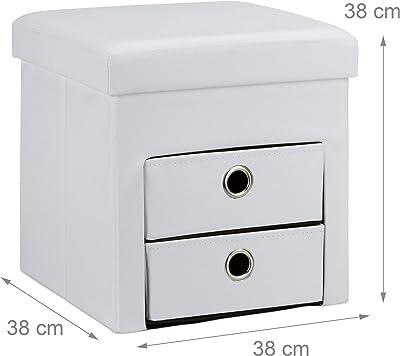 Relaxdays 10020367 Tabouret de rangement carré pliant en similicuir avec couvercle amovible pouf ottoman de stockage cube pour salon pliable avec 2 tiroirs amovibles repose-pieds HxlxP: 38 x 38 x 38 cm, blanc
