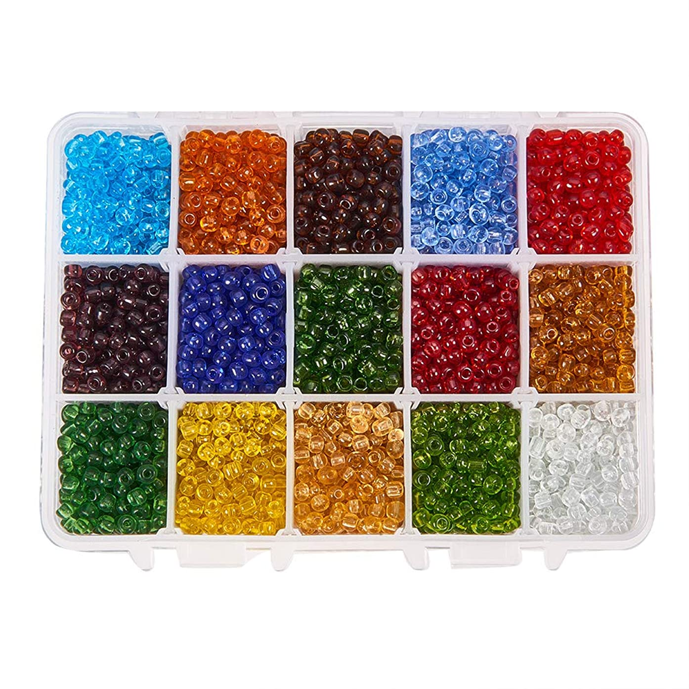 PH PandaHall About 3300pcs 15 Color 6/0 Transparent Glass Seed Beads 4mm Seed Beads with Container Box for Jewelry Making
