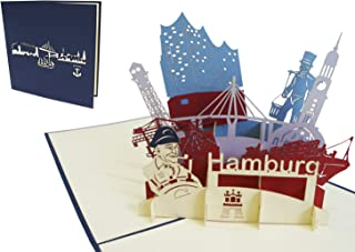 Pop-up 3D greeting / birthday / gift cards of Hamburg City from Lin