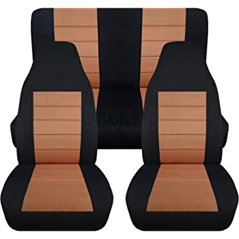 Totally Covers Compatible with 1987-1995 Jeep Wrangler YJ Seat Covers: Black & Tan - Full Set: Front & Rear (23 Colors) 2-Door Complete Back Bench