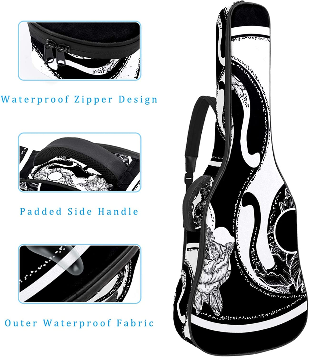 Guitar Bag Waterproof Oxford cloth 2 Pockets for 40 41 42 Inches Acoustic Classical Guitar,Cute Pig